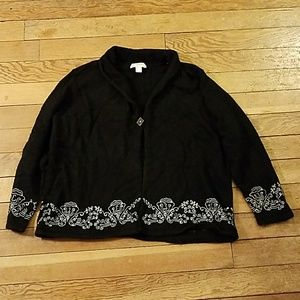 C.J. Banks Black Silk Blend Embroidered Sweater
